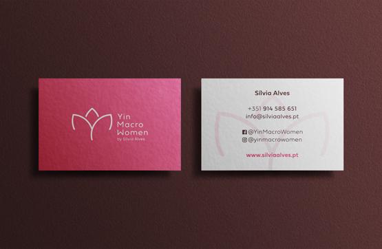 cartões de visita para yin macro woman